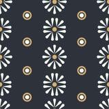 Vector Folk Daisies with Dots on dark seamless pattern background vector illustration