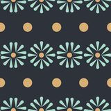 Vector Folk Daisies with dots seamless pattern background. vector illustration