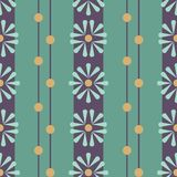 Vector Folk Daisies on green with Beads seamless pattern background. royalty free illustration