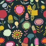 Vector folk floral seamless pattern background vector illustration