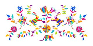 Vector Folk Mexican Otomi Style Embroidery Pattern Royalty Free Stock Images