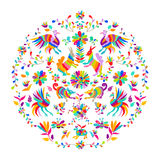 Vector folk Mexican Otomi Style embroidery Pattern. Vector folk Mexican Otomi embroidery Pattern stock illustration