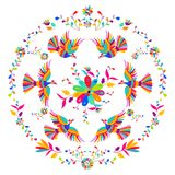 Vector folk Mexican Otomi Style embroidery Pattern. Folk embroidery ornament. Vector folk Mexican Otomi Style embroidery Pattern Royalty Free Stock Images