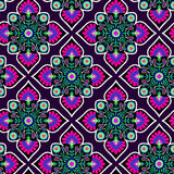 Vector folk pattern. Seamless decorative pattern with floral folk elements. Mexican style, colorful tiles, classic textile motif. ethnic colorful fashion or Stock Photography
