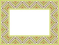 Vector folk Rectangular Frame Cross-stitch Stock Images