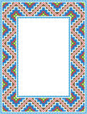Vector folk Rectangular Frame Cross-stitch blue Royalty Free Stock Photography