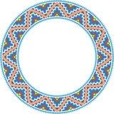 Vector folk round Frame Cross-stitch. Traditional vector illustration