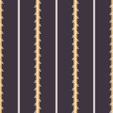 Vector Folk Stripes with Daisies seamless pattern background. vector illustration