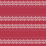 Vector Folklore Floral Border on Red Seamless Pattern Background. stock illustration