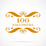 Vector 100 followers badge over white. Easy use and recolor elements for your design royalty free illustration