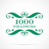 Vector 1000 followers badge over white. Easy use and recolor elements for your design Stock Photo