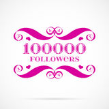 Vector 10000 followers badge over white Royalty Free Stock Photos