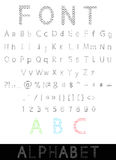 Vector font: alphabet and numbers Stock Photos