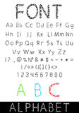 Vector font: alphabet and numbers Royalty Free Stock Photo