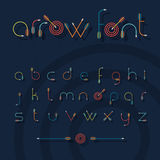 Vector font alphabet shaped like archery arrows Stock Photo