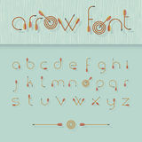 Vector font alphabet shaped like archery arrows Royalty Free Stock Images