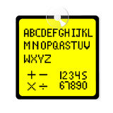 Vector font 8 bit style on yellow tag. Font 8 bit style on yellow tag Royalty Free Stock Images