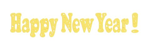Vector font of cheese. Text: Happy New Year! Themes of the new 2020 year. Dedicated to the rat year. vector illustration