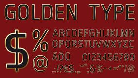 Vector font with golden glossy outlines stock illustration