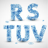 Vector font made from blue letters of the alphabet. (check my portfolio for other letters Stock Photography