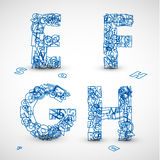 Vector font made from blue letters of the alphabet Stock Images