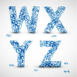 Vector font made from blue letters of the alphabet. (check my portfolio for other letters Royalty Free Stock Image