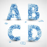 Vector font made from blue letters of the alphabet. (check my portfolio for other letters Stock Photo
