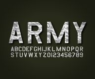 Vector Font military army camouflage royalty free illustration