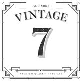 Vector Font. Numbers with Classy Stylish Frame Royalty Free Stock Photos