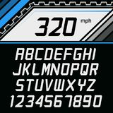 Vector Font in supercar gauge cluster style. Racing Alphabet on car gauge background stock illustration