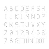 Vector font thin dot alphabet character style design set Stock Images