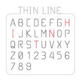 Vector font thin line alphabet character style design. Stock Photo