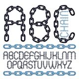 Vector font, trendy typescript can be used in poster creation. U. Pper case creative letters, abc made with steel chain link, joined link Vector Illustration