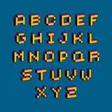 Vector font, typescript created in 8 bit style. Pixel art contem Royalty Free Stock Photos