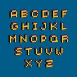 Vector font, typescript created in 8 bit style. Pixel art contem. Porary capital letters set, 3d digital design elements Royalty Free Stock Photos