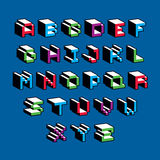 Vector font, typescript created in 8 bit style. Pixel art contem. Porary capital letters set, 3d digital design elements Royalty Free Stock Images