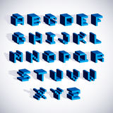 Vector font, typescript created in 8 bit style. Pixel art contem. Porary capital letters set, 3d digital design elements Royalty Free Stock Photography