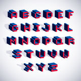 Vector font, typescript created in 8 bit style. Pixel art contemporary capital letters set, 3d digital design elements Stock Image