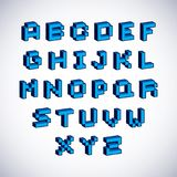Vector font, typescript created in 8 bit style. Pixel art contem. Porary capital letters set, 3d digital design elements Royalty Free Stock Image