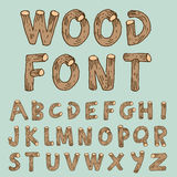 Vector font wood style - Vector illustration.  Stock Illustration
