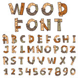 Vector font wood style - Vector illustration Stock Image