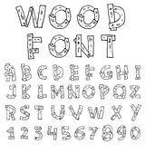 Vector font wood style.- Vector illustration Stock Photos