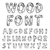 Vector font wood style.- Vector illustration Royalty Free Stock Photos