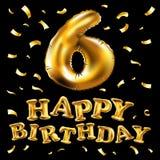 Vector a fonte número brilhante 6 fez do balão de ar realístico do hélio do ouro 3d Coleção do alfabeto do balão com o rea do tra Foto de Stock Royalty Free