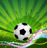 Vector fooball background, grass and colorful wave Royalty Free Stock Photography