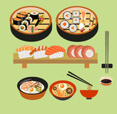 Vector food background- Japanese food Stock Photos