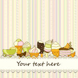 Vector food background with sweets, ice-cream, cake and coffee Royalty Free Stock Photography