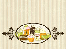 Vector food background with sweets, ice-cream, cake and coffee. Vector food retro grunge background with sweets, ice-cream, cake and coffee with place for text Royalty Free Stock Images