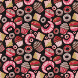 Vector food bakery seamless pattern with baked goods. Flour products from pastry shop. Illustration for print, web. Royalty Free Stock Image