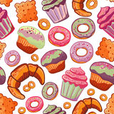 Vector food bakery seamless pattern with baked goods. Flour products from pastry shop. Illustration for print, web. royalty free illustration